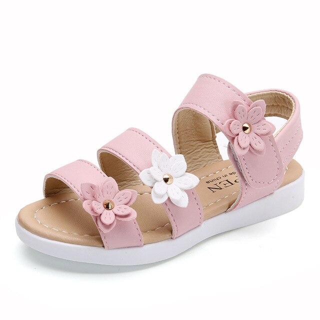 ddbeb7b1c4eb Summer Kids Girls Sandals Baby Shoes Pink White Princess Flower Children  Fashion Light Leather Flat Beach Roman Sandals Non-slip