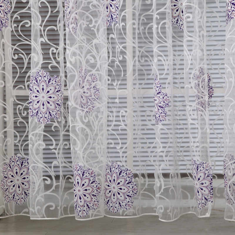 Burnout Floral Tulle Window Curtain Drapes Panel Decal Scarf Valances window curtain fabric blinds drapes