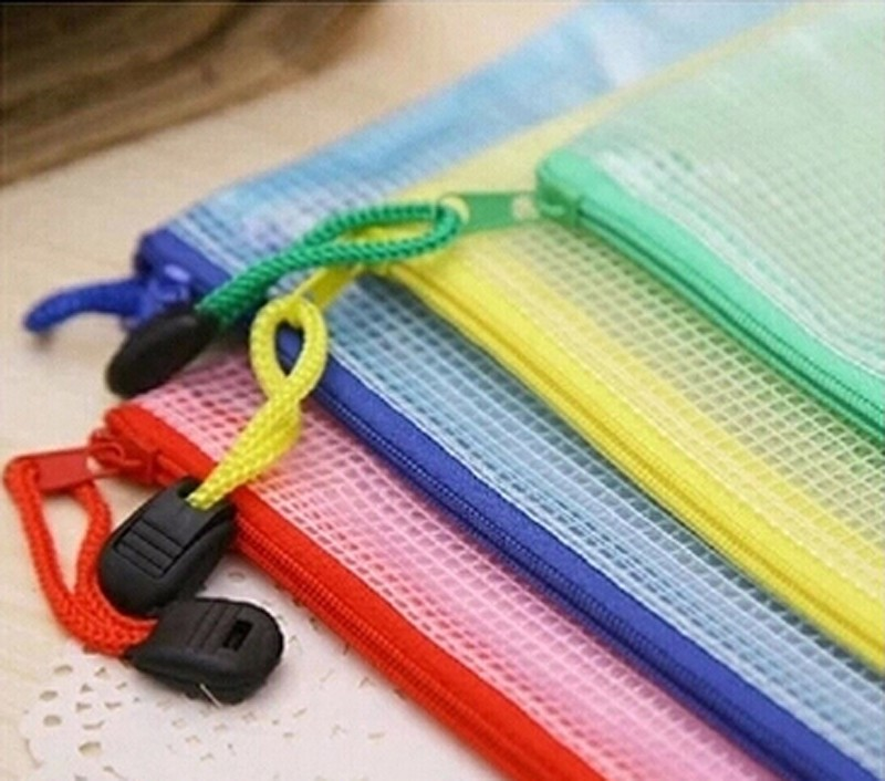 5pcs/lot Gridding Waterproof Zip Bag Document Pen Filing Products Pocket Folder Free Shipping Office & School Supplies