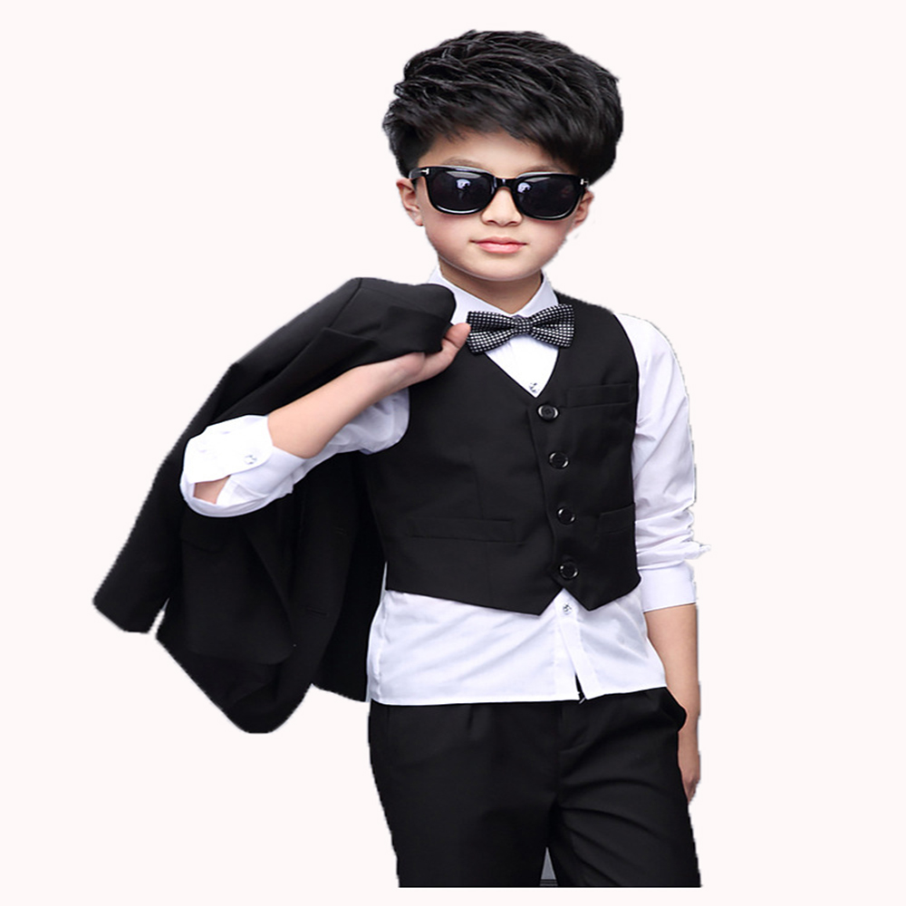 Boys Suits Gentle and Slim Child Prom Suits Coat Vest Pants Shirt bowtie 5Pieces Wedding Flower Girl Dress suits Retail 1Set in Clothing Sets from Mother Kids