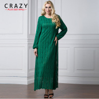 Plus Size Lace Dress 2018 L 7XL Women Vintage Black Long Muslim Dresses 7XL 6XL 5XL Plur size Maxi Dress 9042