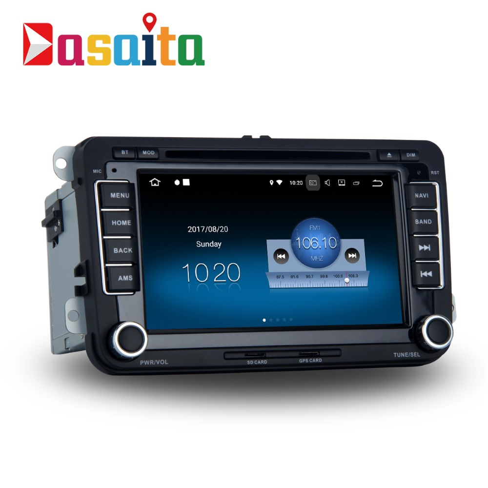 Dasaita 7 Android 8.1 Car GPS DVD Player Navi for VW Golf Polo Passat Tiguan EOS with 2G+16G Quad Core Stereo Multimedia