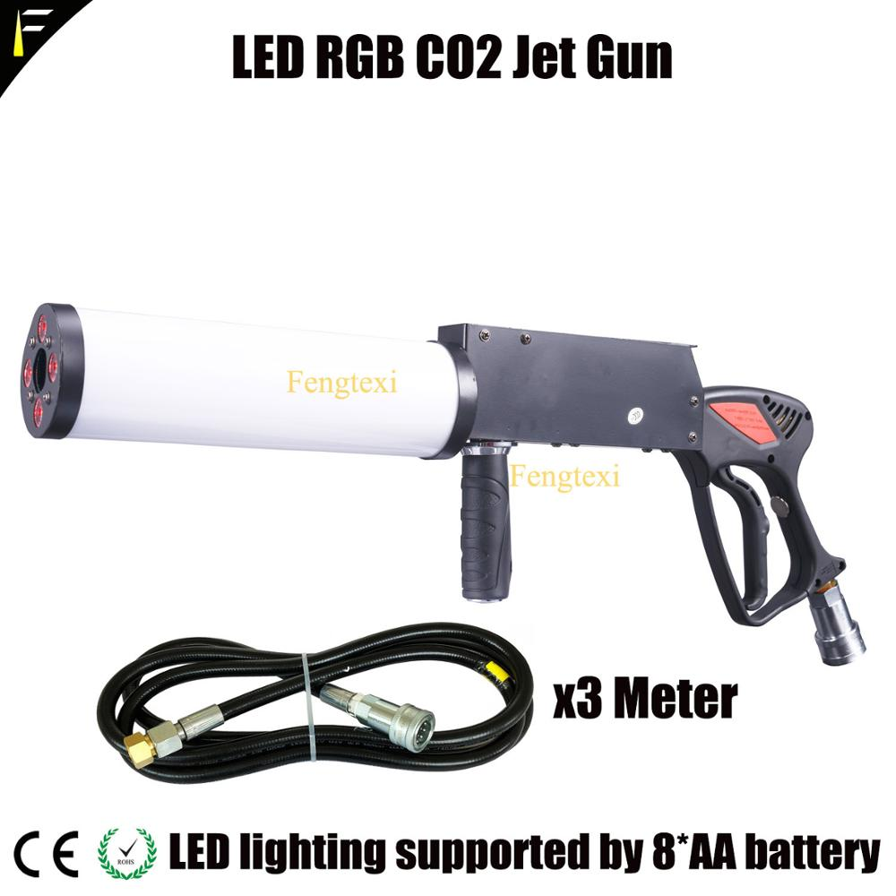 Cool Disco Dj LED Co2 Jet Cryo Blaster Cannon Gun Shoot RGB LED Color Mixing Smoke Fog Handlheld Cryo Gun With 3m Hose