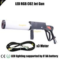 Cool Disco Dj LED Co2 Jet Cryo Blaster Cannon Gun Shoot RGB LED Color Mixing Smoke fog Handlheld Cryo Gun with 3m Hose