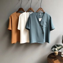 2019 White V Neck Summer Shirts Women Short Sleeve Korean Style Loose Blouse Tops