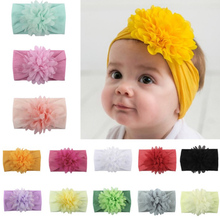 2019 cute Baby Flower Wide Polyester Headband Knot Bow Polyester Head wraps Soft Elastic Hair Bands Kids Turban Hair Accessories kids girls dot braided top knot twisted turban headband elastic for hair head bands wraps headbands accessories turbante wraps