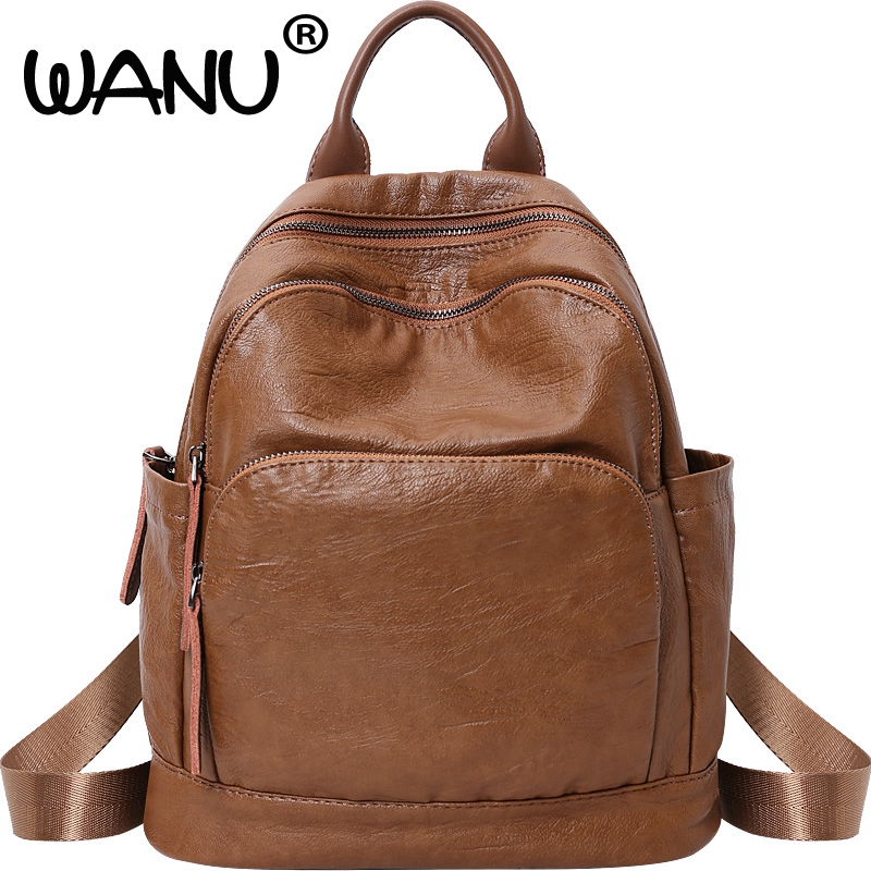 New Soft Leather Luxury Women Backpack Travel Casual Designer Female Retro Bag Large Capacity Top-handle Bags Girls School Bag crazy horse genuine leather luxury women vintage backpack oil wax cowhide travel casual designer female retro book daypack bag