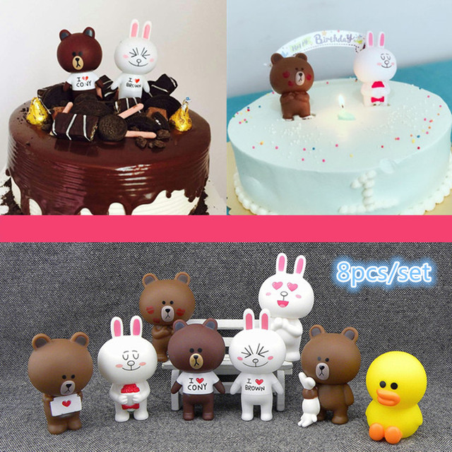 8pcsset Kawaii Line Town Dolls Brown Bears Cony Rabbit Birthday