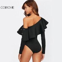 COLROVIE Elegant Beaded Ruffle Asymmetrical One Shoulder Long Sleeve Bodysuit