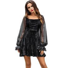 Gothic Long Sleeve Dress Women Sexy Chiffon Stretch Velvet Dress 2018 New Halloween Lantern Sleeve Beading Vestido Feminina