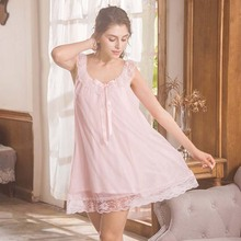Wasteheart Women Fashion Pink Green Sexy Sleepwear Nightdress Lace Mesh Nightwear Sleepshirts Nightgown Luxury Female