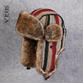 SEGLA Men Russian Ushanka Wool Striped Earflaps Winter Outdoor Snow Skiing Caps Thick Faux Fur Bomber Hats Aviator Trapper Hat