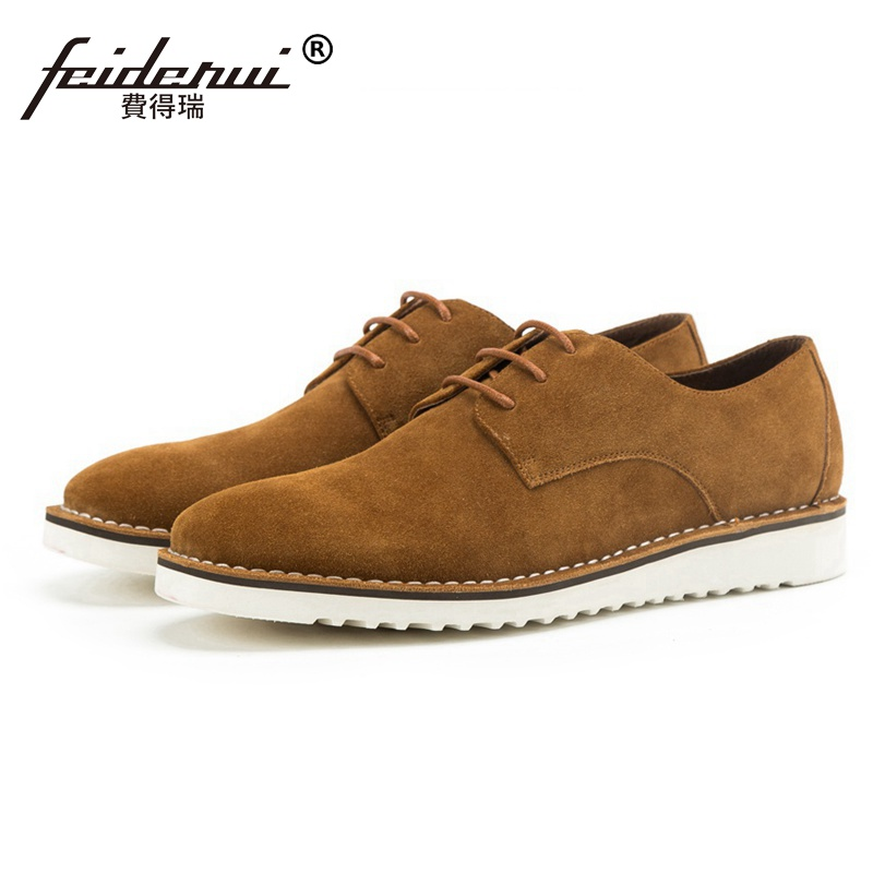 Fashion Round Toe Lace up Man Flat Platform Casual Shoes Cow Suede Leather Men's Handmade Comfortable Outdoor Footwear SS250 lace up suede round toe platform shoes