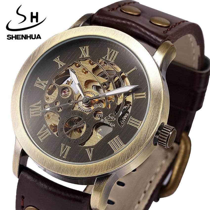 Механични часовници Мъжки Steampunk Автоматични Ретро Кожен Аналогов Скелет Бронзово Мъжки Ръчни часовници подаръци Relogio Masculino 2018