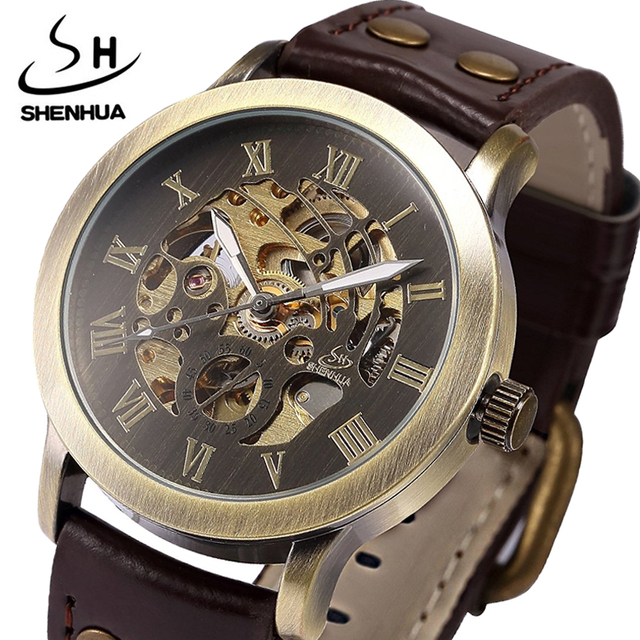 Mechanical Watches Men Steampunk Automatic Retro Leather Analog Skeleton Bronze Male Wristwatches gifts Relogio Masculino 2018