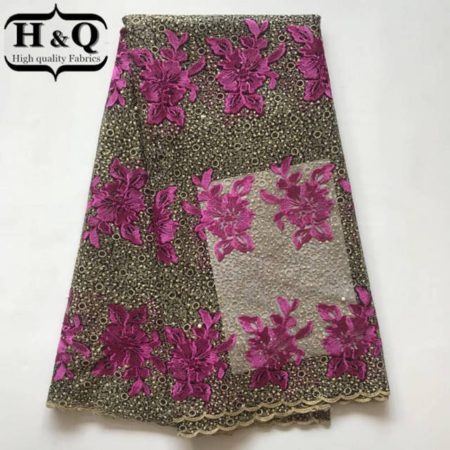 H Q African Lace Fabric High Quality 2018 NEW Design French voile Laces  Embroidery Flower Rhinestones for 43029d89bd9f