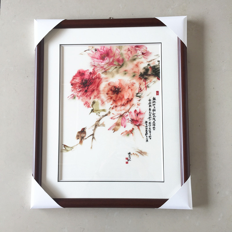 Suzhou Embroidery Handmade Finished Embroidery Decoration Paintings Peony Not Include Frame 30 40cm
