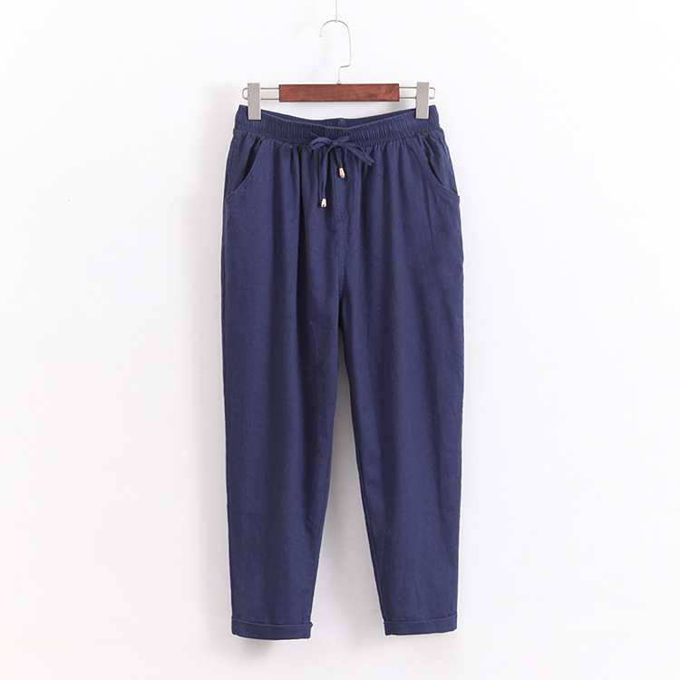 plus size 5xl women OL cotton linen high waist harem pants bow tie drawstring elastic waist pockets casual trousers pantalones