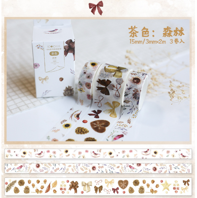 3 Pcs/pack Brown Forest Decorative Washi Tape Set DIY Scrapbooking Masking Tape School Office Supply Escolar Papelaria
