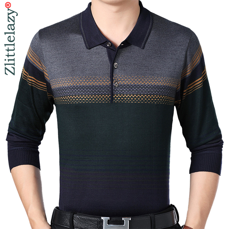 2018 designer brand long sleeve slim fit   polo   shirt men casual jersey striped mens   polos   vintage luxury quality tee shirt 41302