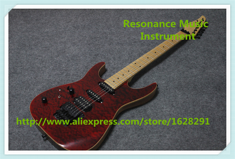 High Quality China OEM Suneye Lefty Electric Guitar Red Quilted Finish & Maple Fretboard & Black Floyd Rose Tremolo
