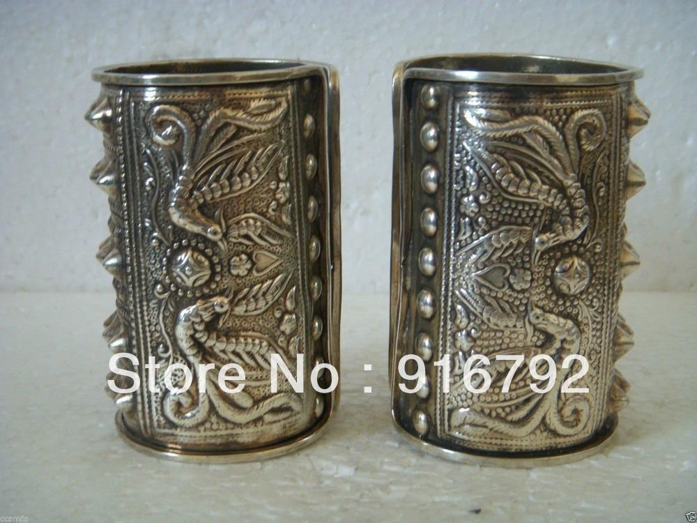 Libre P & P>>>>> Exquis Belle Tibet Argent Bracelet Manchette des Hommes