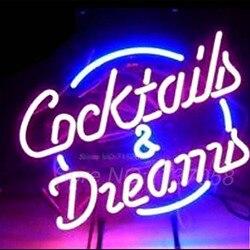 Cócteles y sueños de neón señal de luz de neón de tubo de vidrio artesanía cerveza Bar lámpara para pub lámparas de neón recreativas habitación signo 17x14 pulgadas