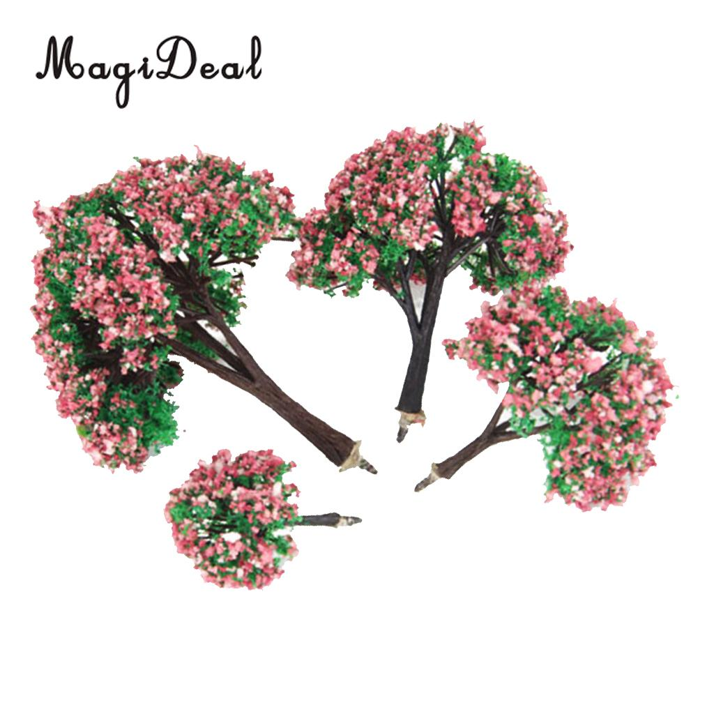 MagiDeal 4Pcs/Lot Plastic Scenery Landscape Model Trees With Peach Flowers For Railroad Layout Garden Decor Doll Weddings Trees