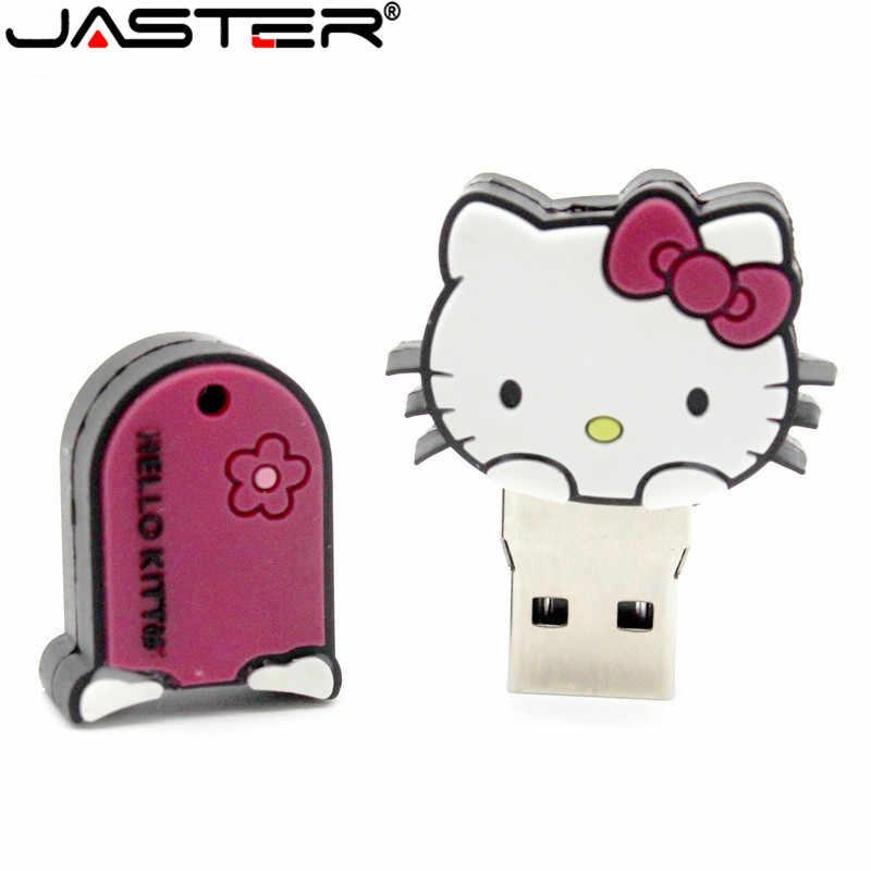 JASTER New style 4 cores Olá Kitty USB Flash Drive pen drive gato presente especial moda Animal dos desenhos animados pendrive 64 GB/32 GB/16 GB