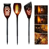 3 Modes LED Solar Panel Powered Lamp Solar Flame Light Sensor Waterproof Outdoor Solar Wall Lights For Garden Garland Decoration