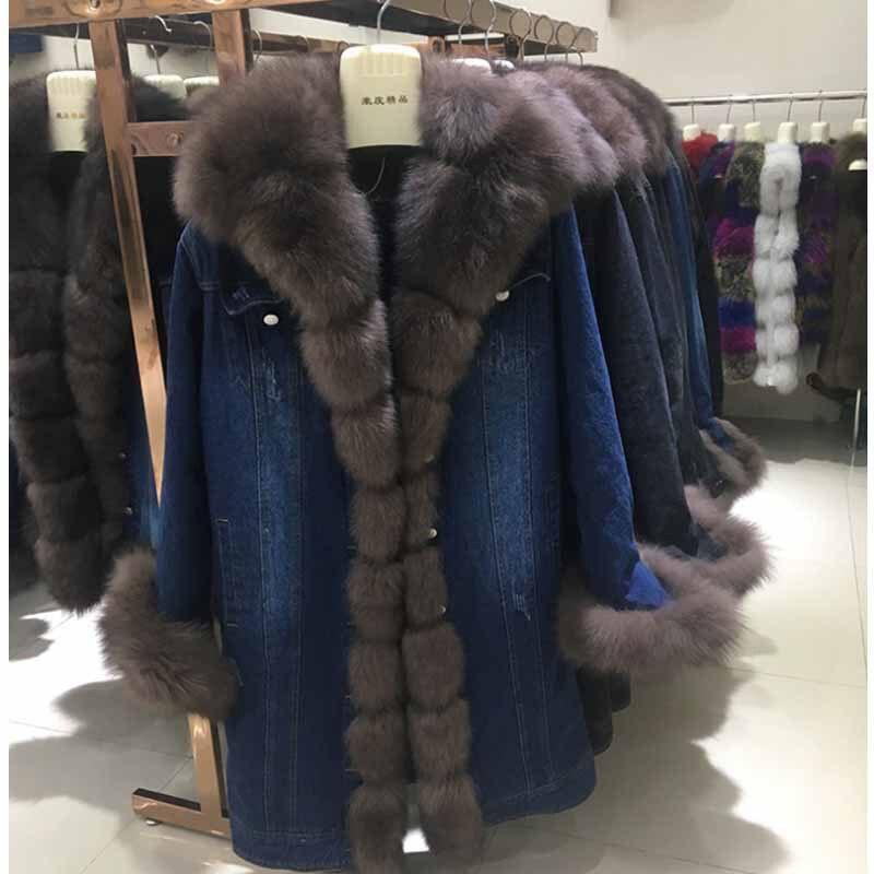 Moyen Length Manteaux Length Cowboy De 2018 Femelle Manteau Nouvelle Style Renard Section Col Blue Avec 95cm Fourrure Veste Length gray blue À 70cm Surmonter Wt106 Envoyer nz6zRw