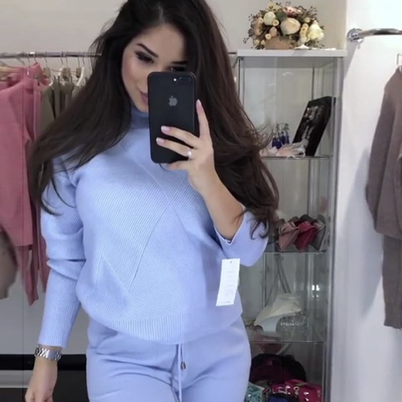 Suit 2019 Leisure Women's sky pink Feminino Blue Fashion Tracksuit Spring Women Knitted piece Khaki Korean Suits Pullover Sweater Two gray Conjunto For XwX4Bq