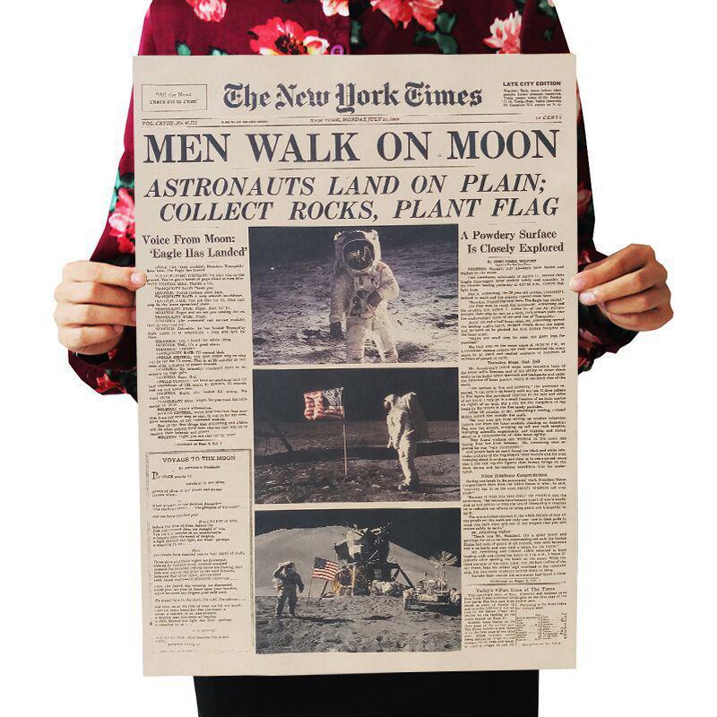 DLKKLB Аполлон 11 Луна посадки Нью-Йорк Таймс Винтаж Плакат крафт-бумага ретро детская комната украшения 51X35,5 см стикер на стену - Цвет: As show