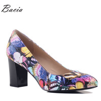 Bacia Soft Sheep Skin Pumps New 2017 Fashion Butterfly Print Thick High Heels 33 40 Russion