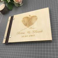 Livro de visitas de madeira do livro de visitas do casamento do livro de visitas moderno personalizado da impressão digital livre dor or com nome