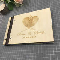 Personalised fingerprint Guest Book Modern Wedding Guest Book Wooden Wedding Guest Book Wooden Guestbook livre d'or with name