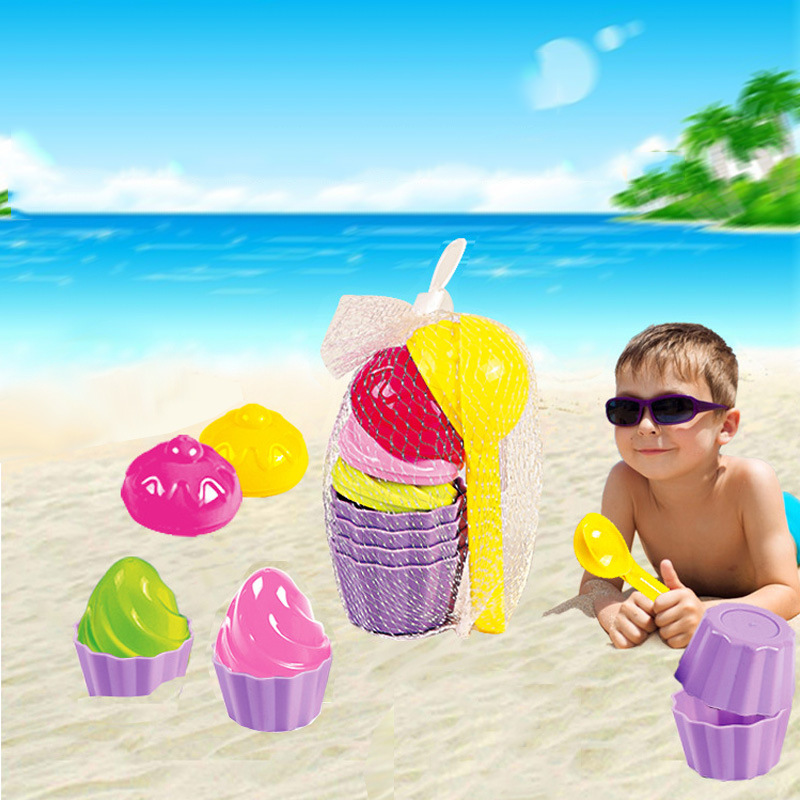 SLPF 9 Pcs Kids Baby Beach Toy Small Cake Mould Spoon Ice Cream Pudding Beach Play Sand Play Snow Tool Toys For Children New G52