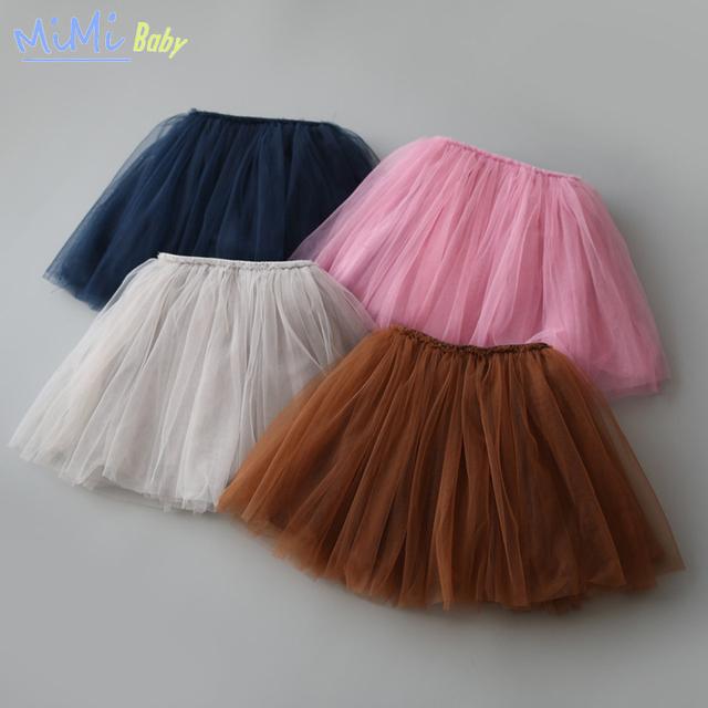 Faldas para Las Niñas 2017 Primavera y el Verano de Cuatro Colores Granadina Corto Cordón Elástico Burbuja Sólido Falda Del Tutú Niños Ropa