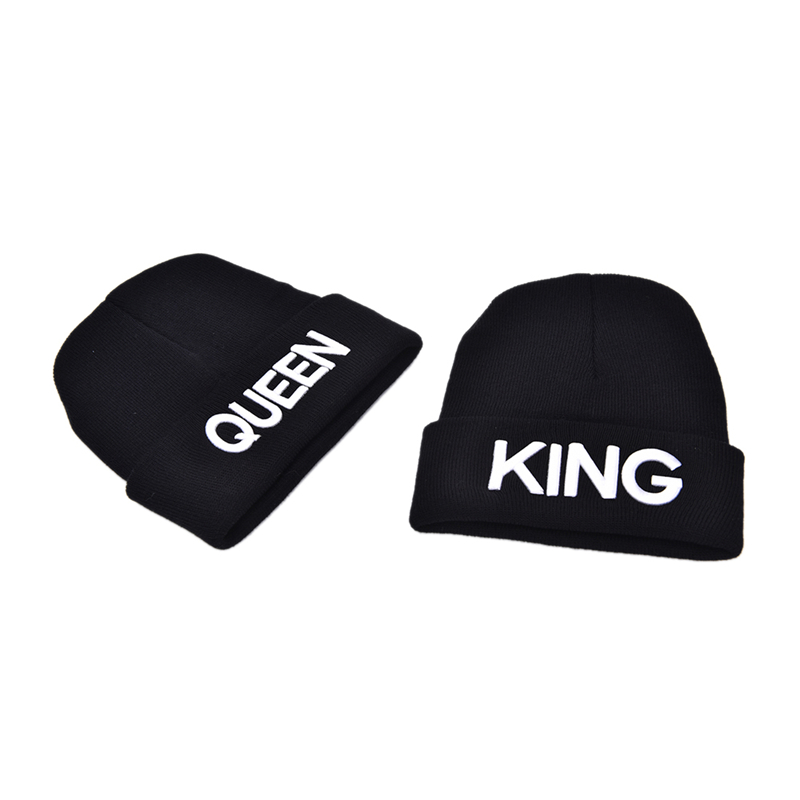bc9457a52ca Unisex Couple King Queen Beanie Winter Hats Cap Men Women Knitted Hiphop Hat  Warm Winter Cap Black Color Gifts 1Pcs Wholesale-in Skullies   Beanies from  ...
