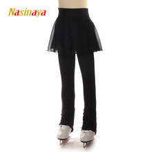Customized Figure Skating Pants With Skirt Long Trousers For Girl Women Training Competition Ice Skating Hips Protector Pad