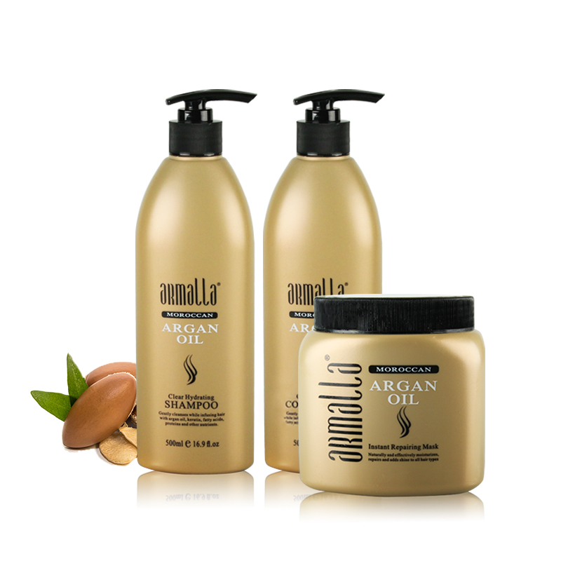 Armalla 500ml Moroccan Clear Hydrating Shampoo+500ml Conditioner+500ml Instant Repairing Mask Treatment Shine Soft Free Shipping 1