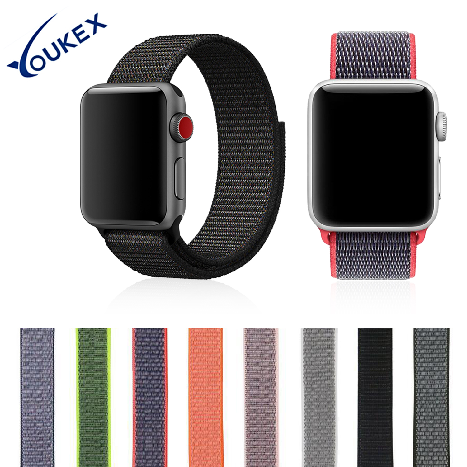 YOUKEX Nylon Sport Band for Apple Watch 38mm 42mm Replacement Wrist Soft Breathable Band Bracelet For iwatch Series 1 & 2 & 3 youkex silicone sport band for apple watch 38mm 42mm replacement sport bracelet wrist strap for iwatch series 1