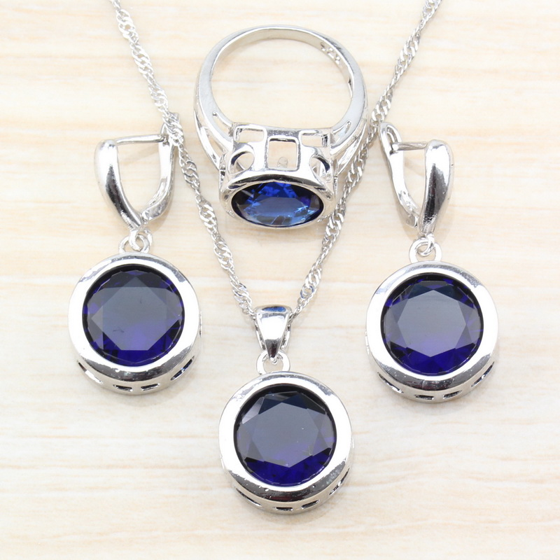 Costume Jewelry-Sets Dangle-Earrings/necklace Natural-Stone 925-Silver Pendant/ring-Size