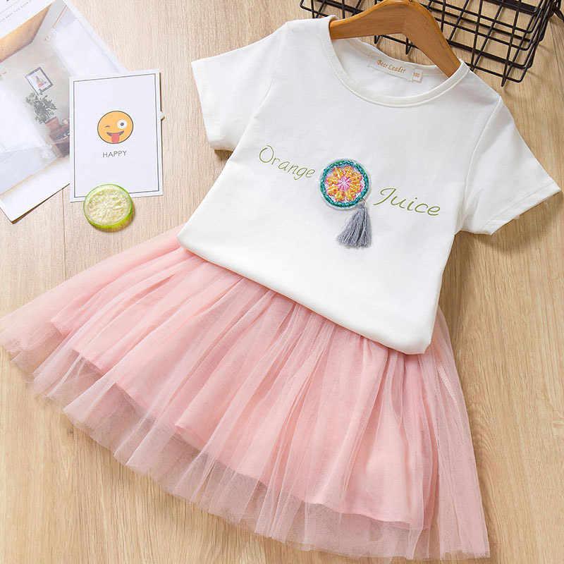 Mayfair Cabin/Новинка 2019 года, летний комплект одежды для девочек, короткая футболка с фруктовым принтом + комплект одежды из 2 предметов бальное платье с бантом 3-7Y