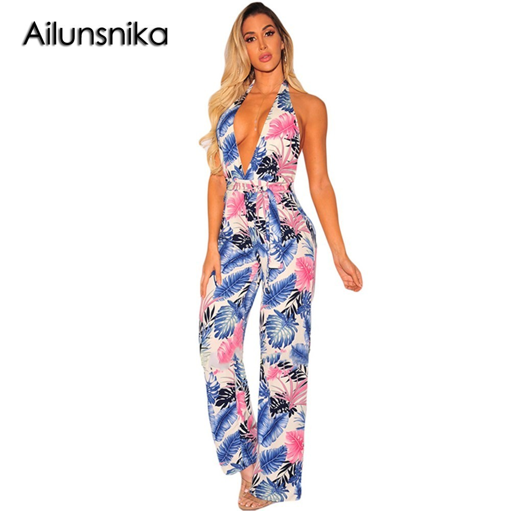 Ailunsnika Sexy New Ladies Boho Style Rompers Orange Palm Sleeveless Print Halter Belted Jumpsuit Full Length Trousers Women
