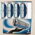 8 pçs/lote turbo lâminas de barbear para homens a melhor qualidade da sharp barbear, mache 3 turbo lâmina de barbear padrão para todos os países homens