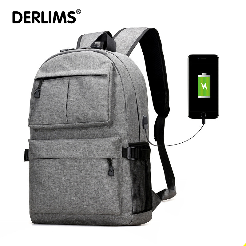 Best buy DERLIMS USB Design Backpack Book Bags for School Backpack Canvas  Laptop Fashion Man Backpacks Casual Rucksack online cheap 5e1d072a9c611