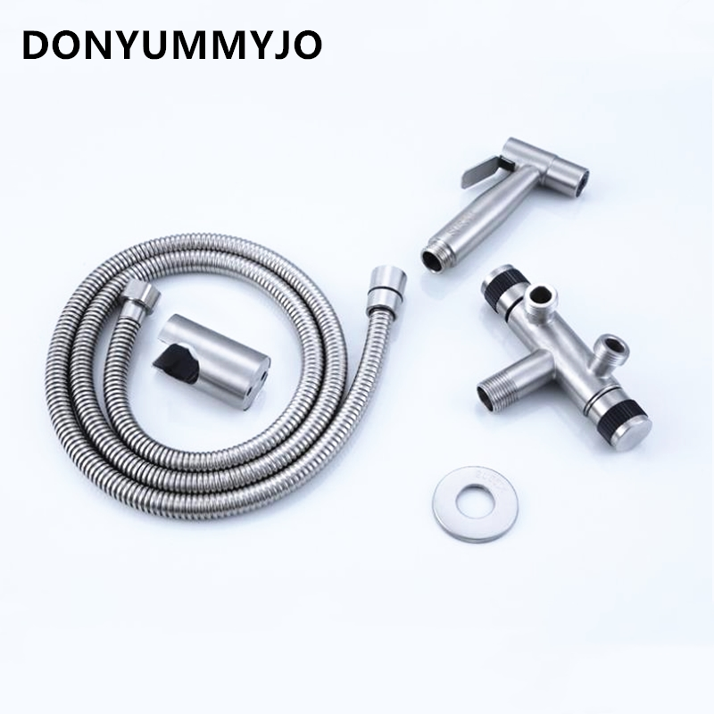 1set Bidet Faucets 304 Stainless Steel Toilet Spray Gun Multifunctional Wash Nozzle Gun Wash 1/2 'Double Outlet Angle Valve цена