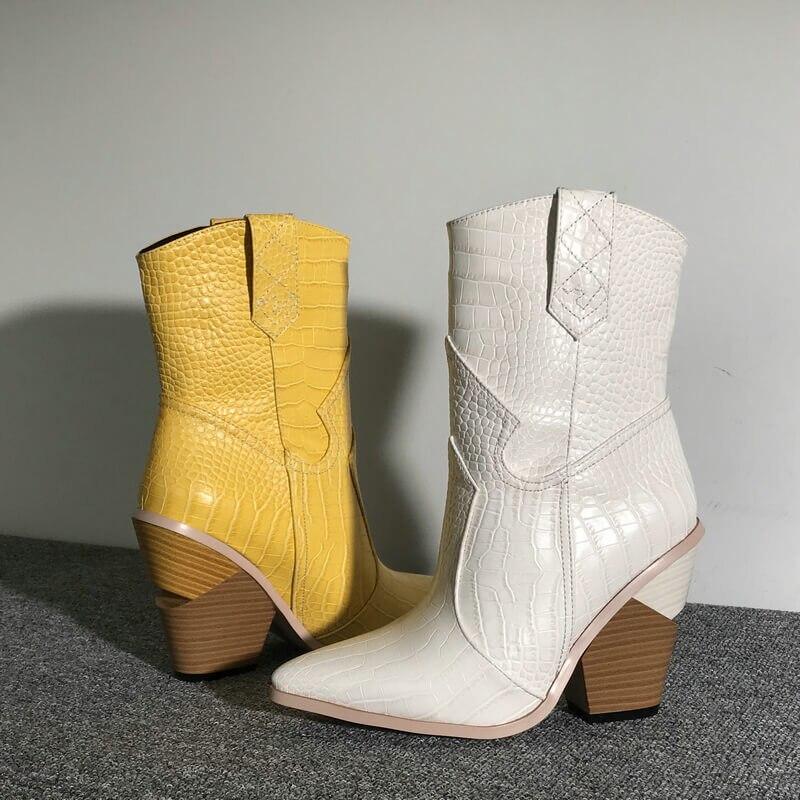 Snake skin dark design Bell Boots diamantes faux fur Pair Over Reach Boots