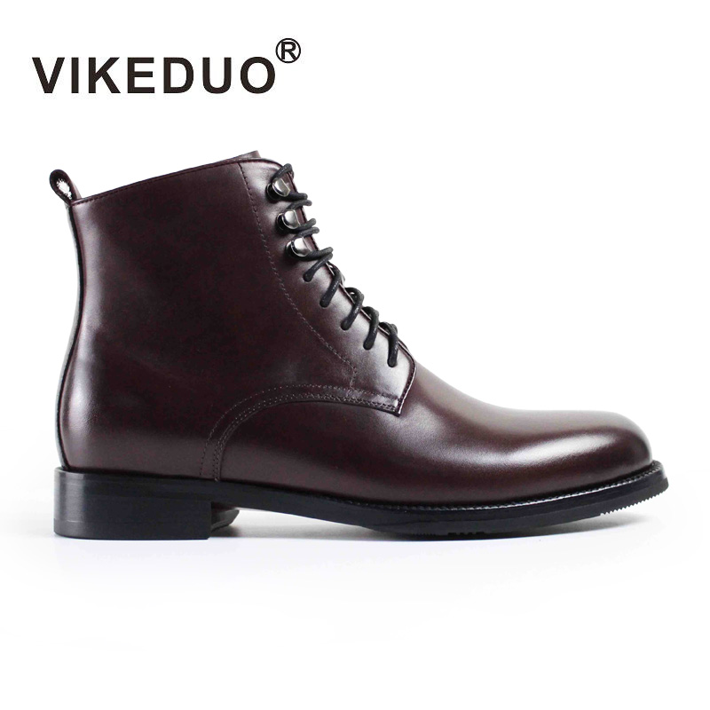 VIKEDUO Luxury Brand Vintage Fashion Man's Shoes Boots 100% Genuine Leather High Quality Ankle Outdoor Comfortable Boot For Male yunsye hd 720p wireless ip camera wifi onvif video surveillance security cctv network wi fi camera infrared ir 10m camera wifi